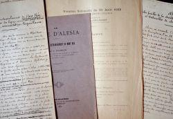 Deux intéressantes études manuscrites sur Alésia et les fouilles.. Guillaume Fourier (1853-1928) Archéologue, membre de la Commission départementale ...