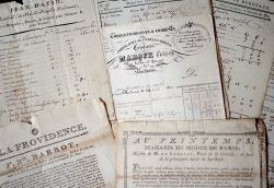 Bel ensemble de documents et manuscrits XVIIIe sur le commerce à Bordeaux..