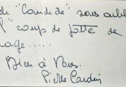 Pierre Cardin reconnaissant envers Philippe Bouvard.. Pierre Cardin (1922-0) Couturier, mécène et homme d'affaires français.