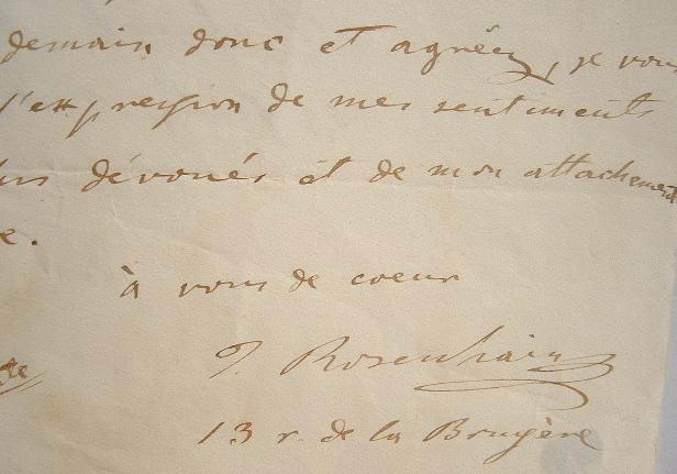 Le compositeur Rosenhaim écrit au violoniste Habenek.. Jakob Rosenhaim (1813-1894) Compositeur et pianiste allemand.