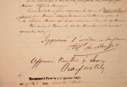 Alfred de Musset cède ses droits sur sa pièce Louison.. Alfred Musset (de) (1810-1857) poète romantique.Gervais Charpentier (1805-1871) Il ...