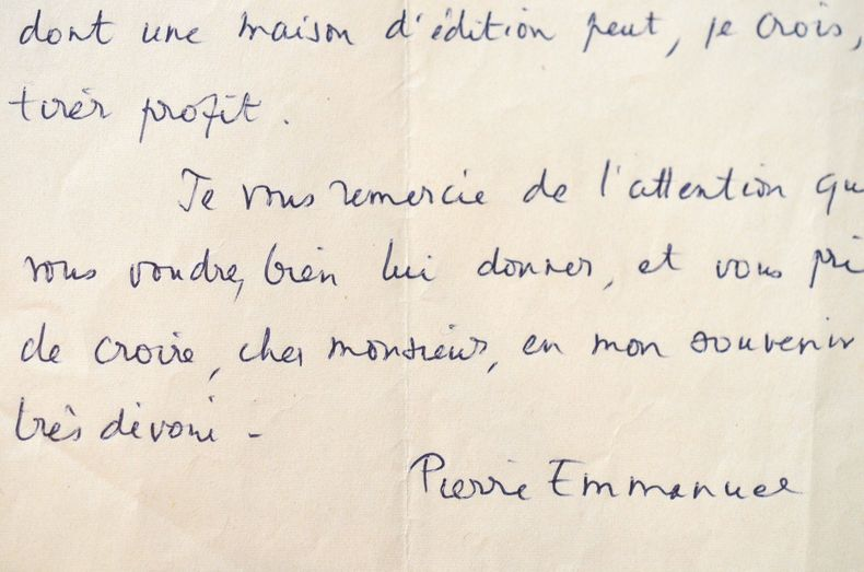 Pierre Emmanuel vient en aide à un ami.. Pierre Emmanuel (1916-1984) Poète et académicien.