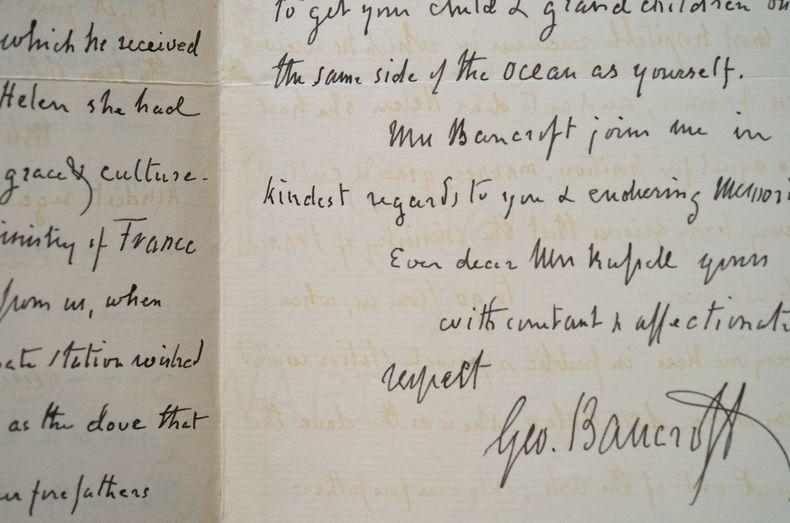 L'historien américain George Bancroft regrette le départ d'un diplomate.. George Bancroft (1800-1891) Historien et homme politique américain, ...
