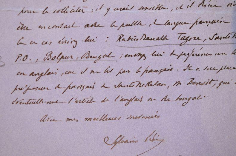 Sylvain Lévi incite Fernand Divoire à contacter Tagore et lui donne son adresse.. Sylvain Lévi (1863-1935) Indologue, professeur au Collège de France.