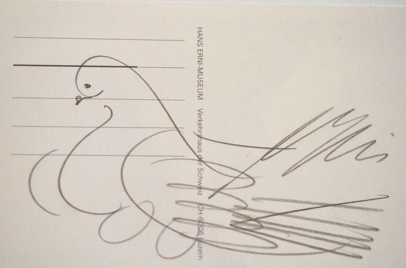 Dessin d'une colombe par Hans Erni.. Hans Erni (1909-0) Peintre, dessinateur, graveur et illustrateur suisse.