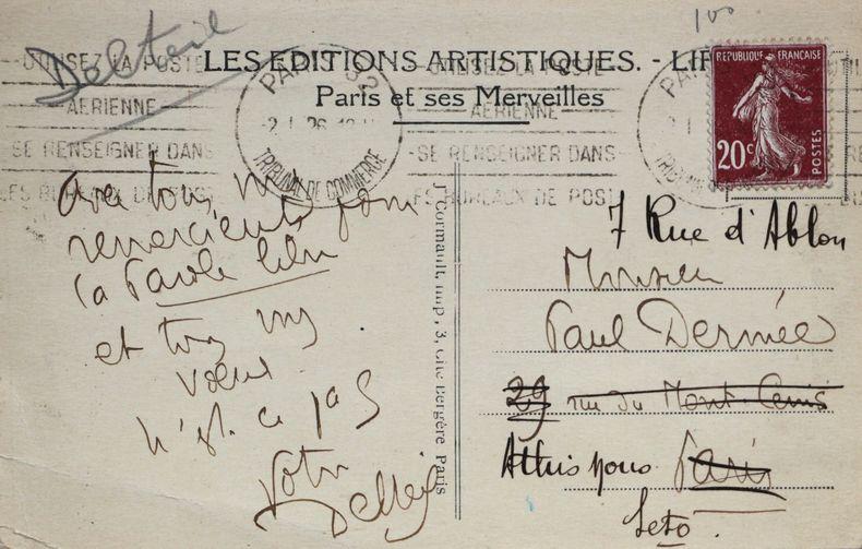 Remerciements de Joseph Delteil pour un article de La Parole Libre en 1926.. Joseph Delteil (1894-1978) Ecrivain mystique.