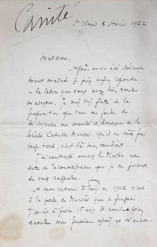 Fernand Crommelynck se remémore sa rencontre avec Catulle Mendès.. Fernand Crommelynck (1886-1970) Dramaturge et acteur.