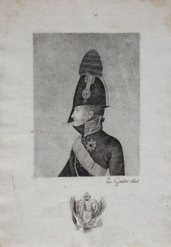 Beau portrait du tsar Alexandre 1er de Russie, dessin d'époque à la mine de plomb..