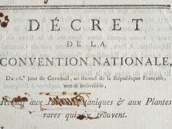 Décret de la Convention sur les Jardins botaniques et les plantes rares..