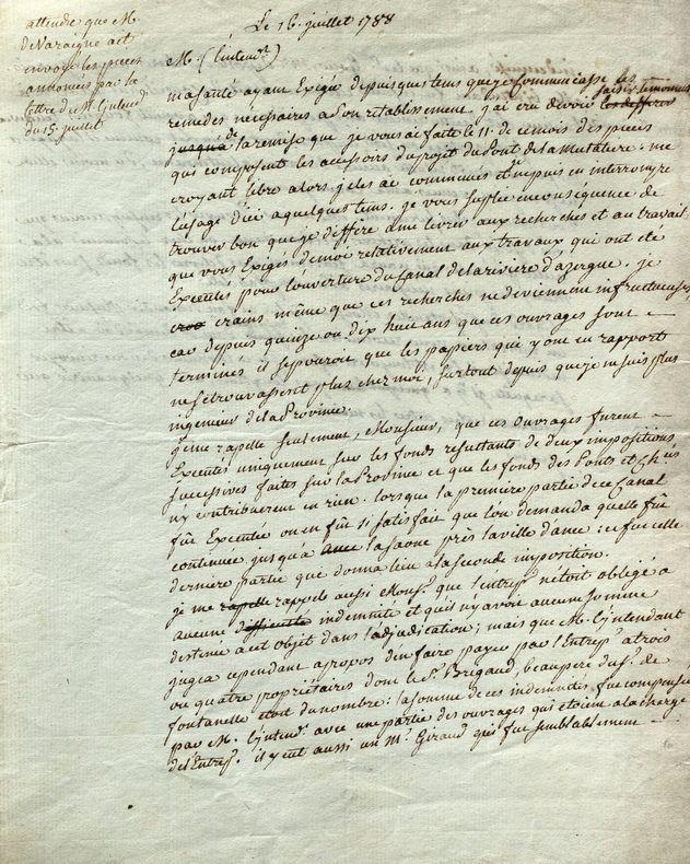 Lettre de l'architecte du pont de la Mulatière, à Lyon..