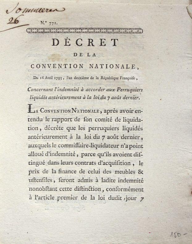 Deux lois du XVIIIe relatives aux barbiers et perruquiers..