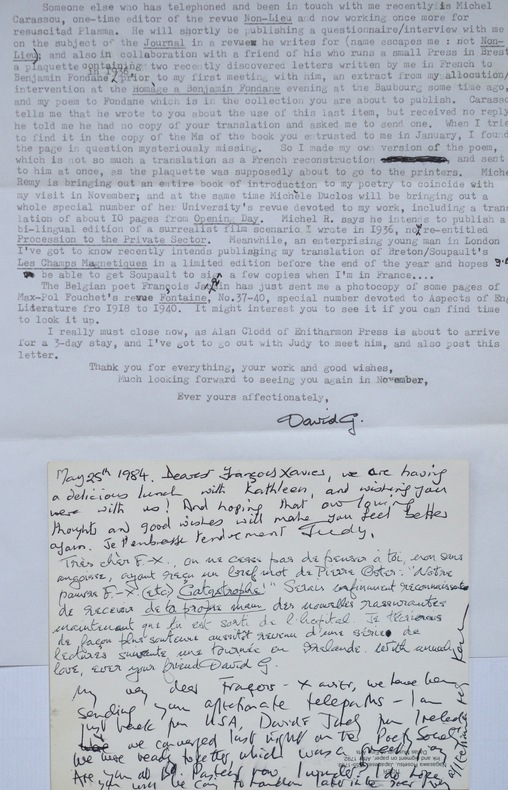 Longue lettre du poète surréaliste anglais, David Gascoyne, évoquant Benjamin Fondane.. David Gascoyne (1916-2001) Poète surréaliste anglais, ami de ...