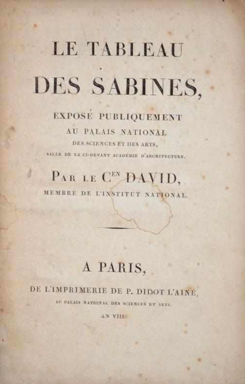 Jacques-Louis David expose son tableau des Sabines et s'en explique.. Jacques Louis David (1748-1825) Premier peintre de Napoléon Bonaparte.