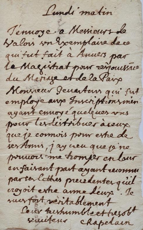 Lettre de Jean Chapelain à Adrien et Henri de Valois.. Jean Chapelain (1595-1674) Poète et critique littéraire, auteur de La Pucelle, membre fondateur ...