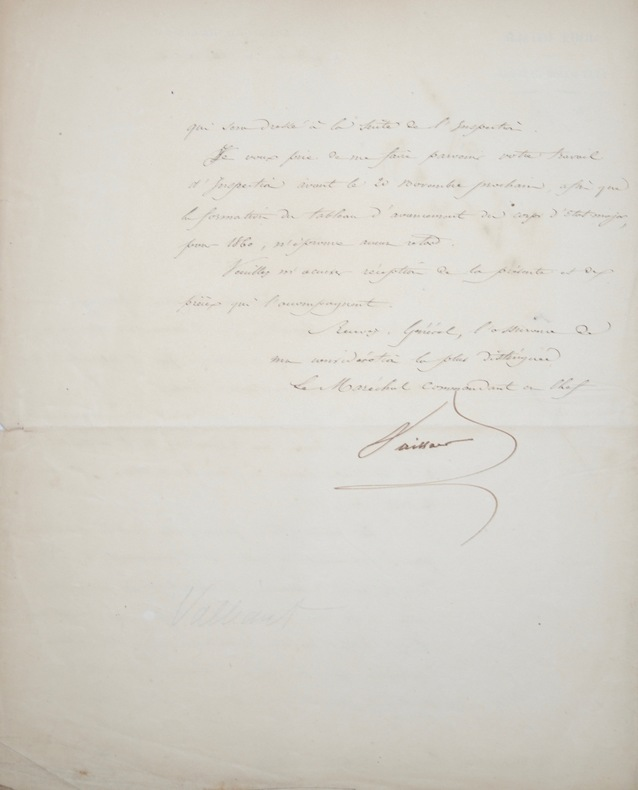 De Milan, le maréchal Vaillant ordonne l'inspection des troupes. Jean Baptiste Philibert Vaillant (1790-1872) Maréchal de France.