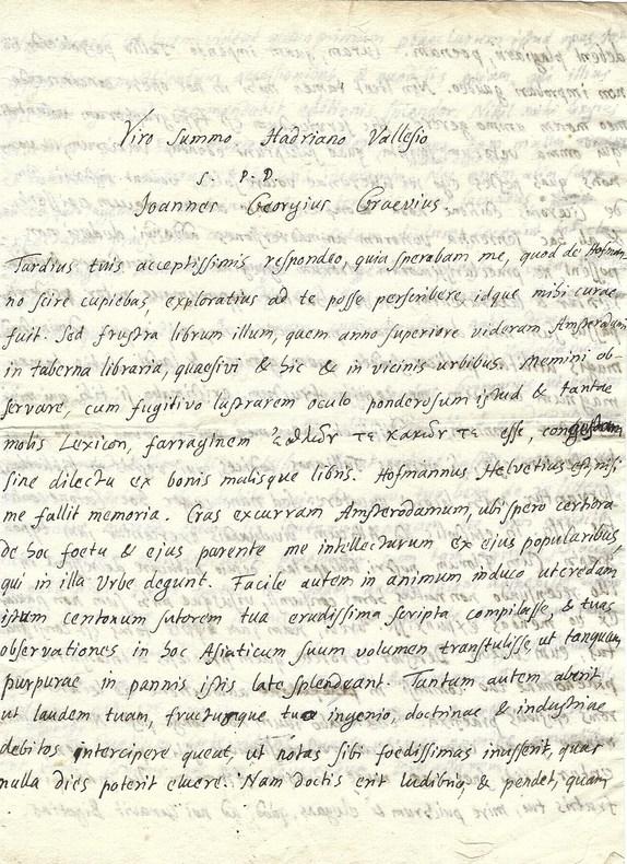 Belle et rare lettre de Graevius relative à son travail sur Cicéron.. Johann Georg Grævius (1632-1703) Philologue et critique allemand, historiographe ...