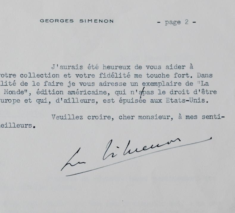 Simenon répond au sujet de ses ouvrages introuvables. Georges Simenon (1903-1989) Ecrivain, auteur des Maigret.