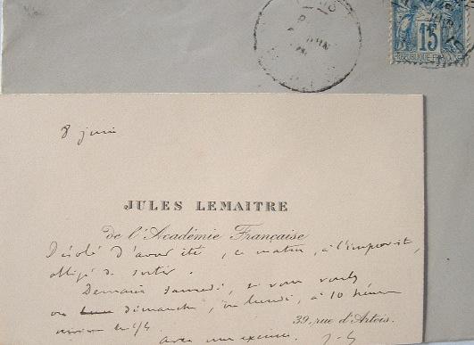 Jules Lemaître remet un rendez-vous manqué.. Jules Lemaître (1853-1914) Homme de lettres.  Académicien (1895).