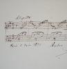Petit manuscrit musical d'Auber, daté de 1870. Daniel François Esprit Auber (1782-1871) Compositeur français.