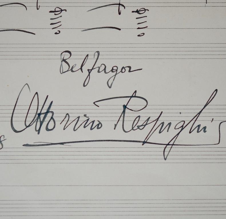 Portée de notes du Belfagor d'Ottorino Respighi. Ottorino Respighi (1879-1936) Compositeur, musicologue et chef d'orchestre italien.