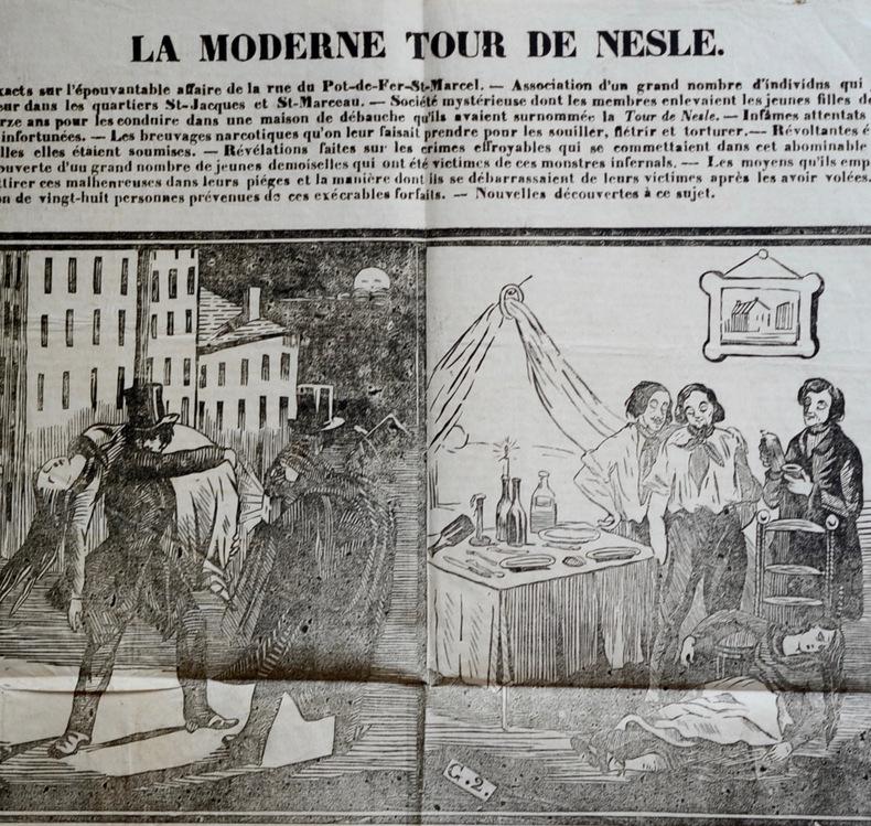 Placard relatant un fait divers criminel contre des jeunes filles, à Paris.
