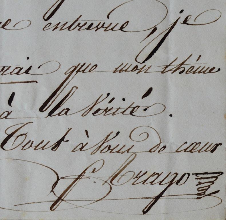 Lettre de François Arago à David d'Angers. François Arago (1786-1853) Astronome, membre (à 23 ans) de l'Académie des sciences dont il devient le ...