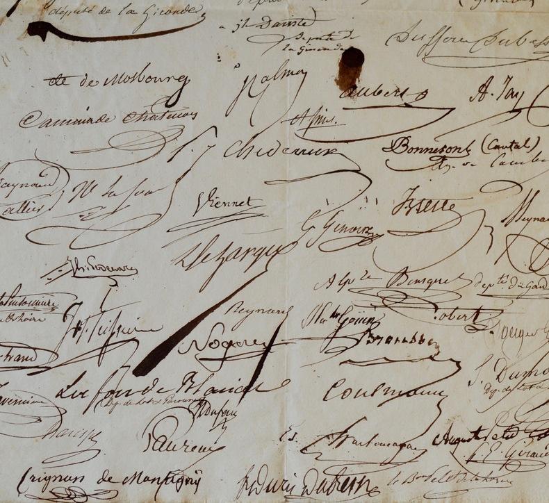 70 députés de 1831 signent une pétition pour diminuer les taxes sur les boissons.