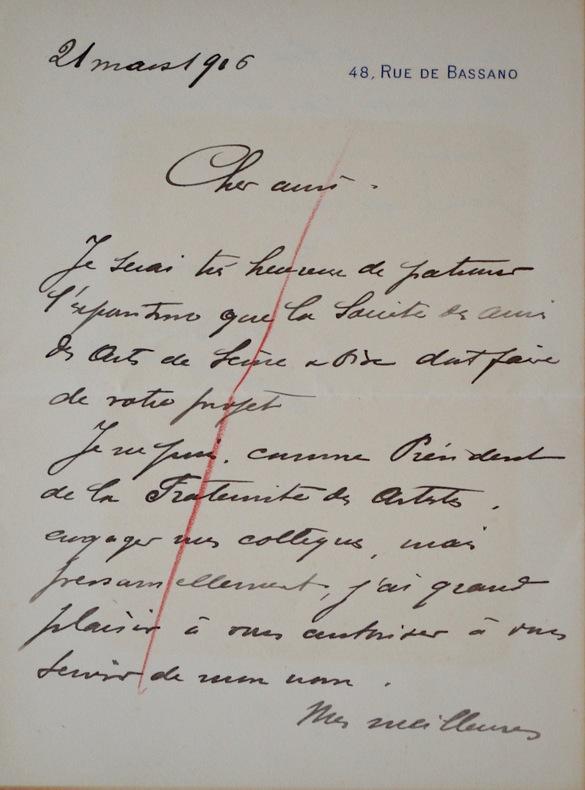 Correspondance de Léon Bonnat à Albert Besnard. Léon Bonnat (1833-1922) Peintre académique et portraitiste, créateur du musée de Bayonne. Elu à ...