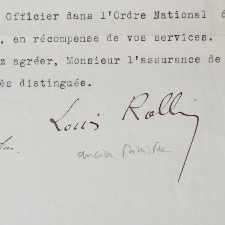 Manuscrits et correspondance de Louis Rollin. Louis Rollin (1879-1952) Homme politique français, plusieurs fois ministre de 1929 à 1940.
