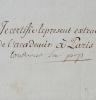 Pièce signée de Nicolas de Condorcet. Marie Jean Antoine Nicolas de Caritat, marquis de Condorcet (1743-1794) Illustre mathématicien, secrétaire ...