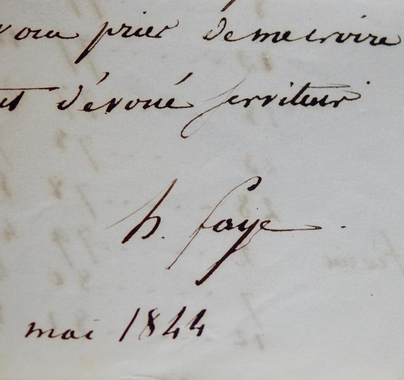 Faye transmet à Dien les positions de la comète de 1843 et 1844. Hervé Faye (1814-1902) Astronome, membre (1847) puis président (1872) de l'Académie ...