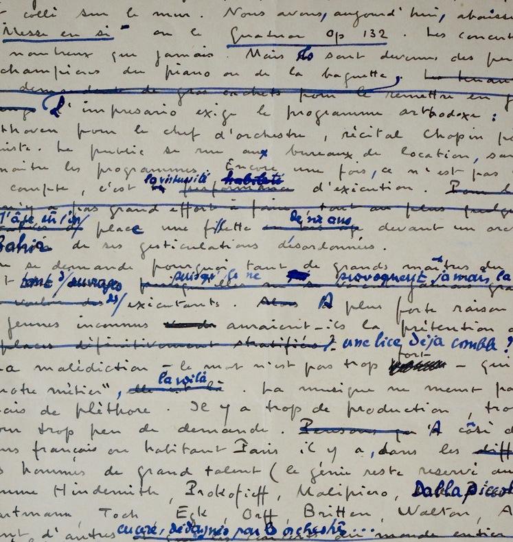 Manuscrit d'Honegger où il critique les dérives de la musique. Arthur Honegger (1892-1955) Compositeur suisse.