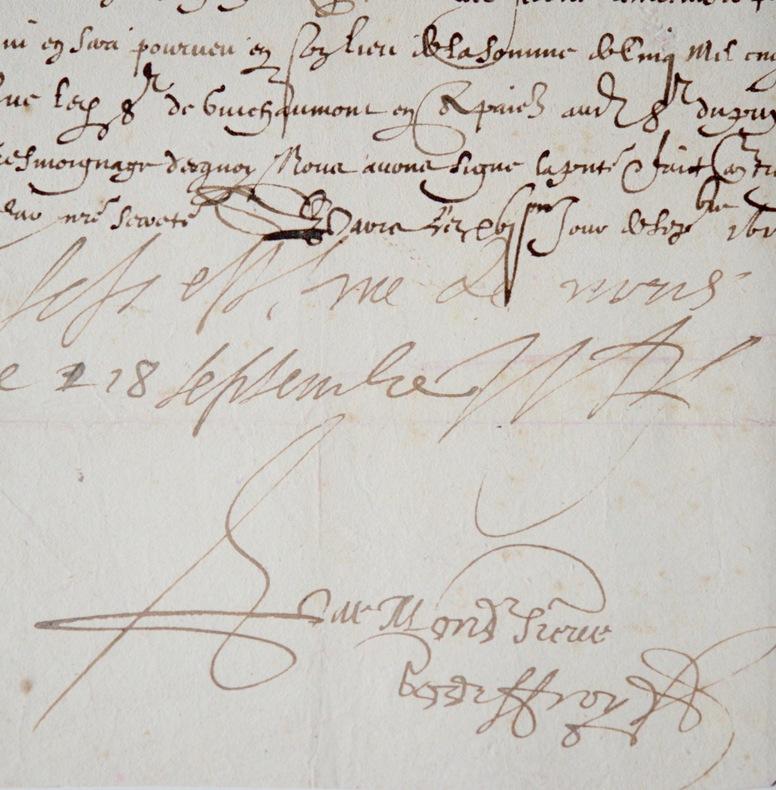 Pièce signée du duc de Vitry, Nicolas de l'Hospital. Nicolas de L'Hospital (1581-1644) Militairefrançais,élevé à la dignité de maréchal de France par ...