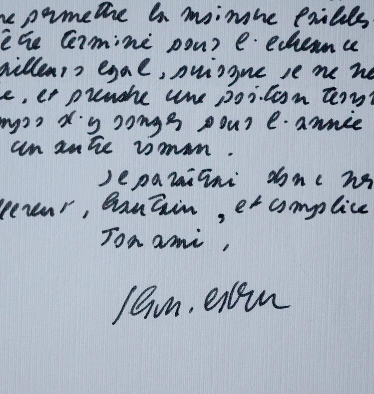 Lettre de Jean-Edern Hallier relative à ses romans. Jean-Edern Hallier (1936-1997) Écrivain, pamphlétaire et polémiste français.
