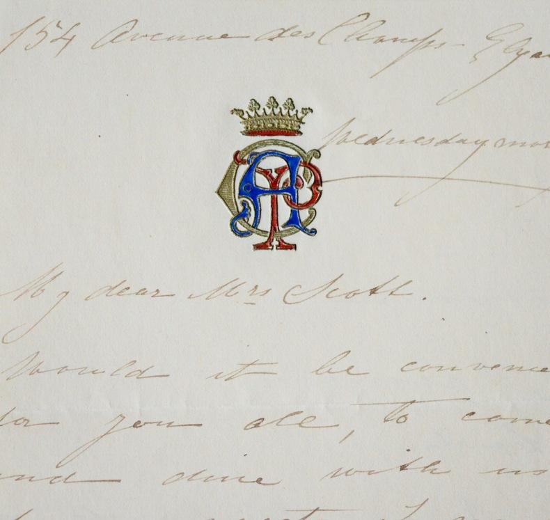 Lettre d'invitation de la soprano colorature Adelina Patti. Adelina Patti (1843-1919) Soprano coloratureitalienne.