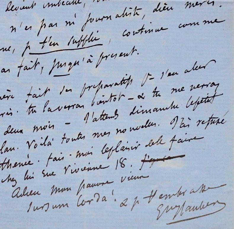"""Flaubert à Feydeau """"au nom du Beau, cramponne-toi des deux mains"""". Gustave Flaubert (1821-1880) Romancier."""