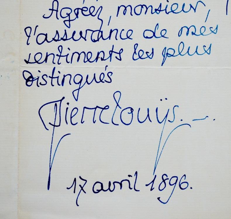 Pierre Louÿs étudie une proposition d'Eugène Fasquelle. Pierre Louÿs (1870-1925) Écrivain et poète sulfureux, auteur d'Aphrodite.