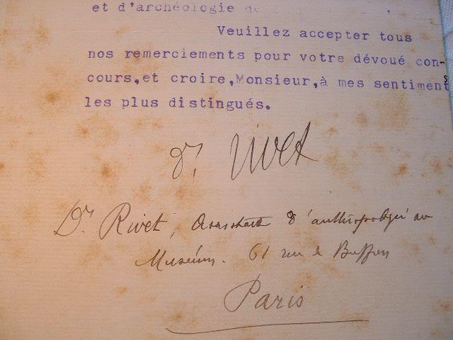 Dr Paul Rivet. Lettre du Muséum d'Histoire Naturelle.. Paul Rivet (1876-1958) Anthropologiste et ethnologiste spécialisé dans les races de l'Amérique ...