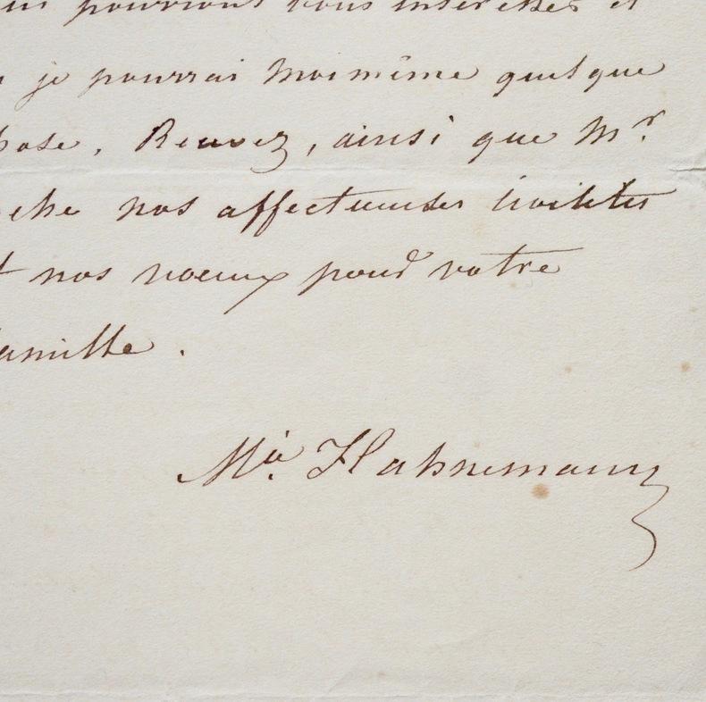 Lettre de Mélanie Hahnemann, précurseur de l'homéopathie. Mélanie Hahnemann (1800-1878) Homéopathe française, pionnière de ce domaine.