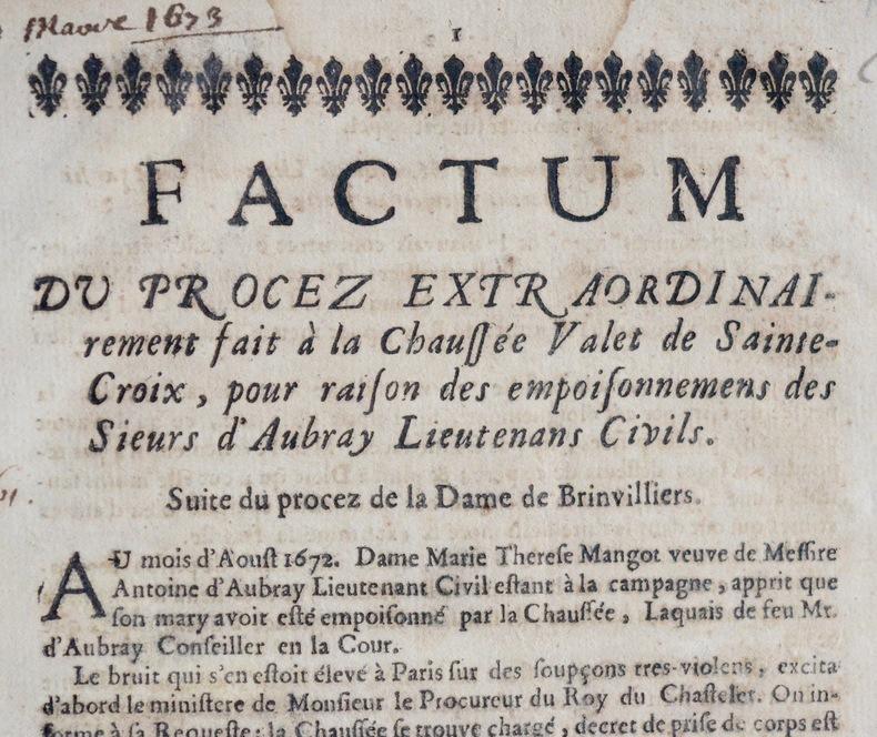Relation du procès de La Brinvilliers, empoisonneuse. Marquise de Brinvilliers (1630-1676) Empoisonneuse française, rendue célèbre par l'affaire des ...