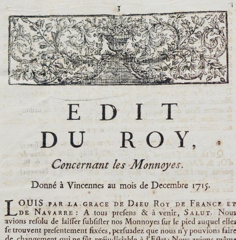 """Imprimé """"Edit du Roy concernant les Monnayes"""", 1715."""