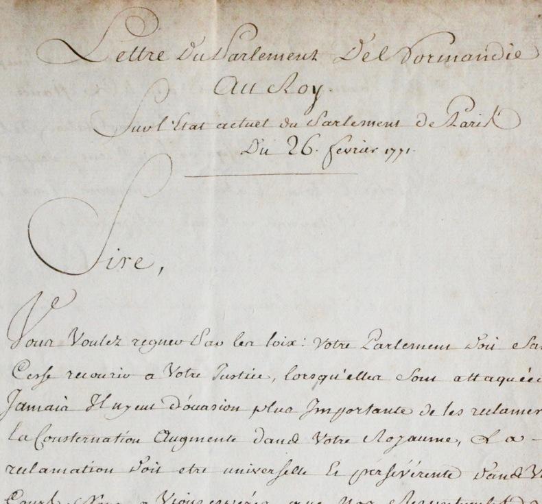 Réforme de le Justice, lettre du Parlement de Normandie, 1771.