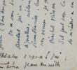 Amusante lettre d'Anouilh à Pierre Brasseur. Jean Anouilh (1910-1987) Auteur dramatique français.