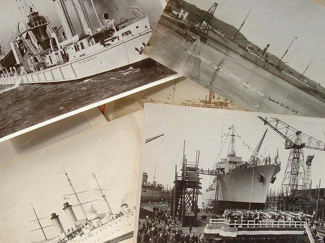 6 photographies de navires de guerre..