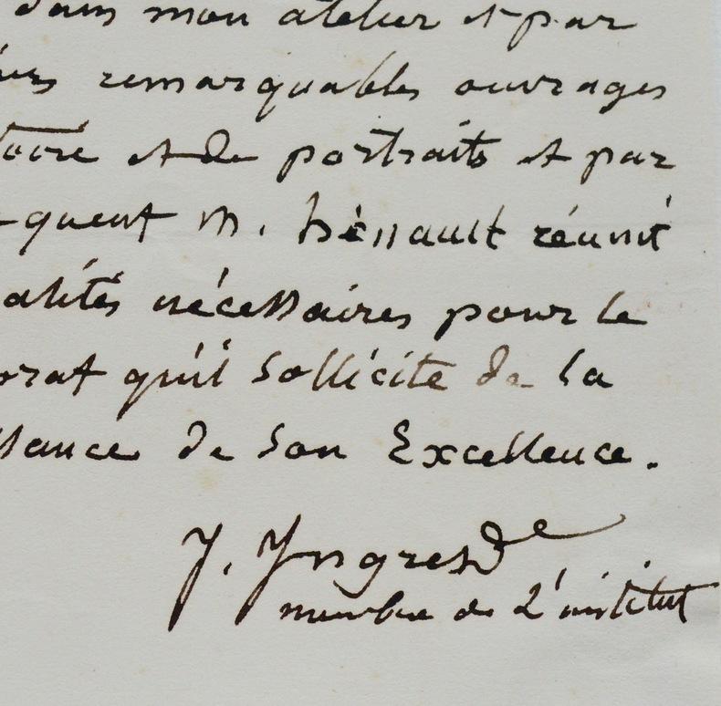 Ingres recommande son élève Antoine Hénault. Jean-Auguste Dominique Ingres (1780-1867) Peintre français.