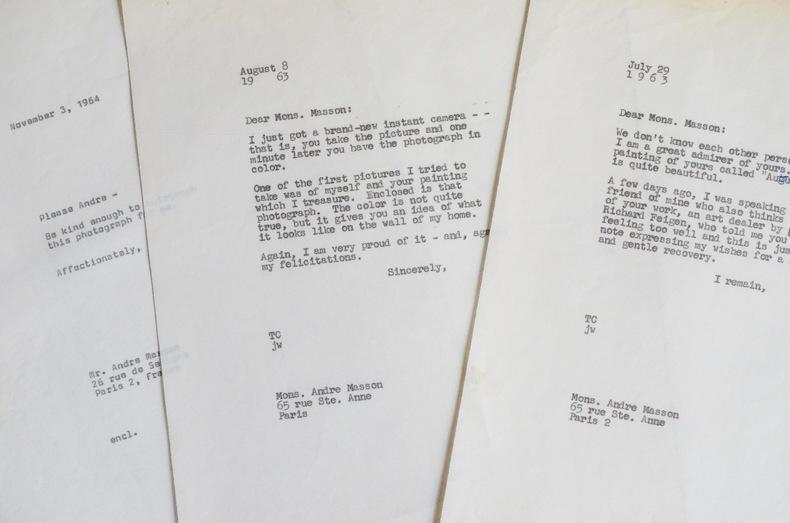 Belle lettre d'André Masson à Tony Curtis. André Masson (1896-1987) Peintre, graveur, illustrateur et décorateur de théâtre français. Il fut membre du ...