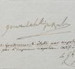 Rarissime note de Napoléon Ier, en exil à Saint-Hélène. Gaspard Gourgaud (1783-1852) Général et homme politique français. Il futl'un des ...