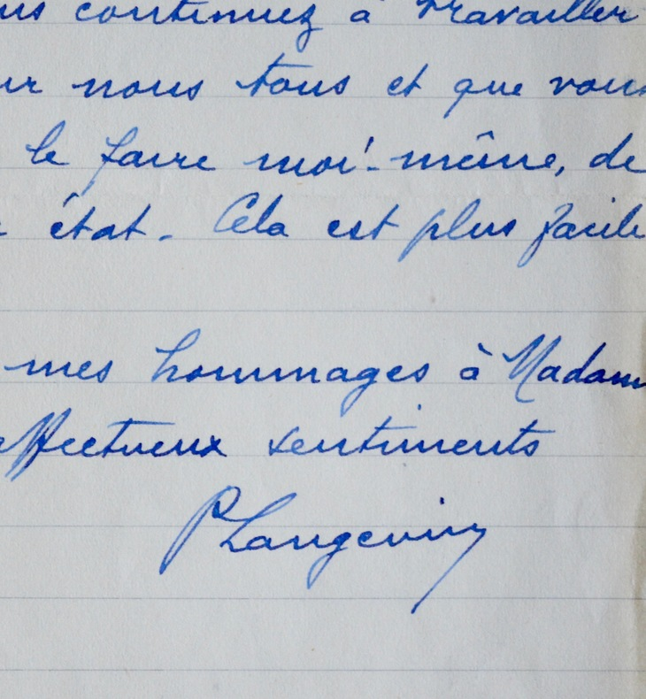 Lettre de Paul Langevin à Jean Surugue. Paul Langevin (1872-1946) Physicien, disciple de Curie et d'Einstein.