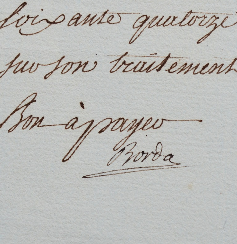 Reçu signé de Jean-Charles de Borda. Jean-Charles de Borda (1733-1799) Mathématicien, physicienet navigateur français.