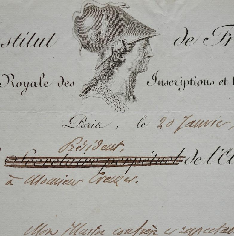 Belle lettre de Raoul-Rochette à Creuzer. Raoul Rochette (1789-1854) Archéologue. Secrétaire perpétuel de l'académie des Beaux-Arts (1838). Auteur de ...